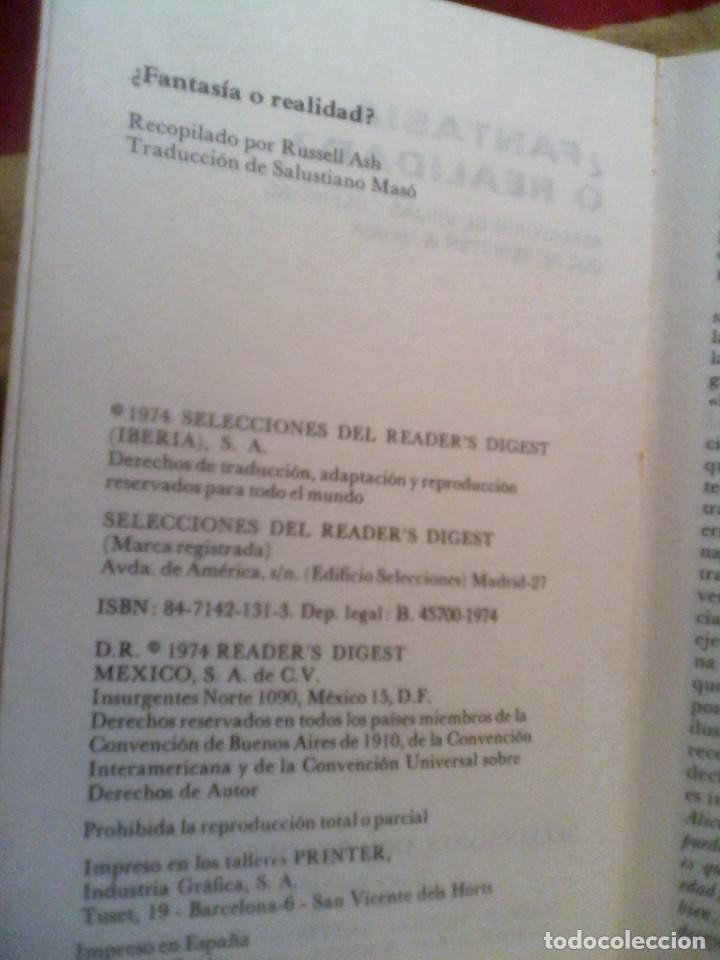 Libros de segunda mano: FANTASIA O REALIDAD - SELECCIONES DEL READERS DIGEST . - Foto 2 - 150986418
