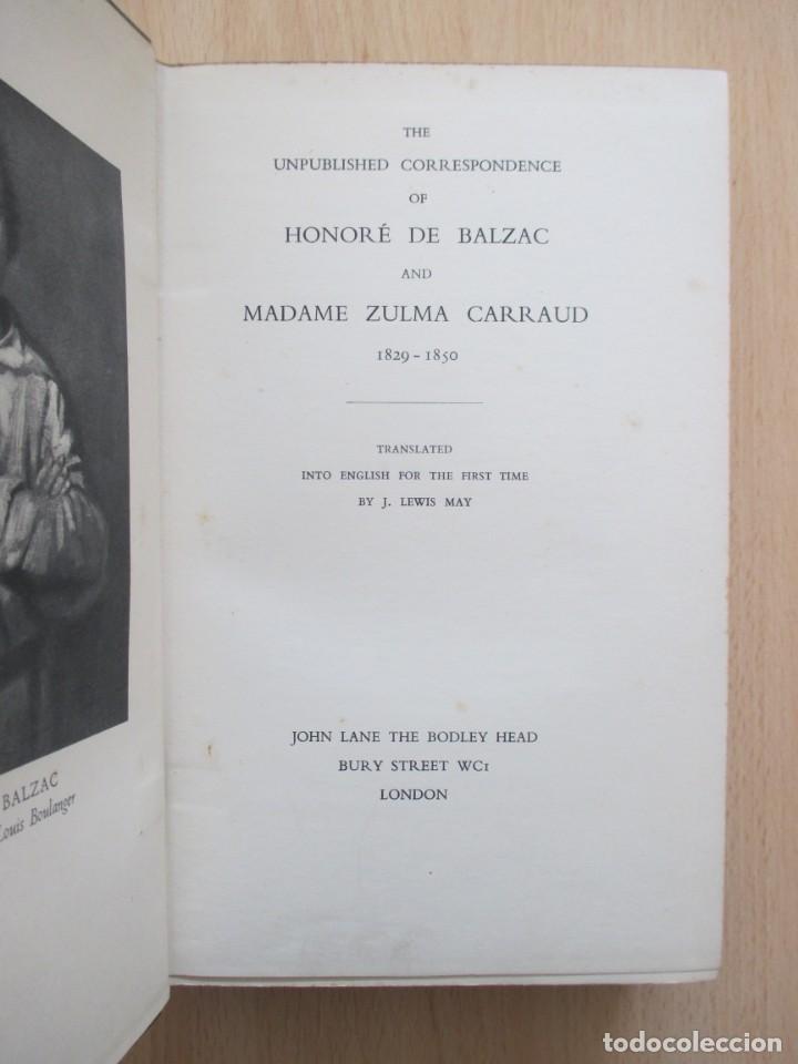 Libros de segunda mano: The unpublished Correspondence of Honoré de Balzac and Madame Zulma Carraud (1820 – 1830) - Foto 8 - 150986806