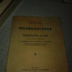 Libros de segunda mano: MANUAL DE COLOMBICULTURA Y TELEGRAFIA ALADA (FACSIMIL DEL ORIGINAL DE 1893 LORENZO DE LA TEJERA. Lote 151908322