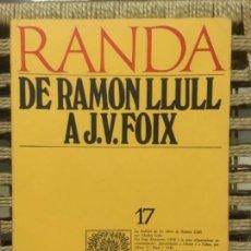 Libros de segunda mano: DE RAMON LLULL A J. V. FOIX, MASSOT I MUNTANER JOSEP. Lote 152014894