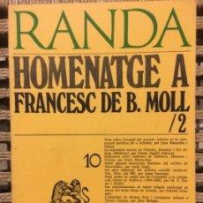 Libros de segunda mano: HOMENATGE A FRANCESC DE BORJA MOLL, RAMON LLULL, MASSOT I MUNTANER JOSEP. Lote 152015218