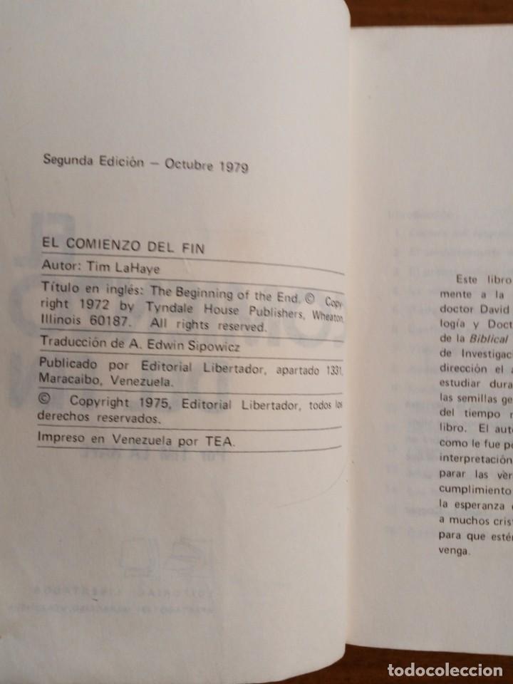 Libros de segunda mano: Libro. El comienzo del fin. Tim La Haye. Editorial Libertador. Año 1979. Muy difícil. - Foto 3 - 153954154