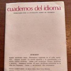 Libros de segunda mano: CUADERNOS DEL IDIOMA, AÑO 1 NÚMERO 1 EDITORIAL CODEX. Lote 155278150