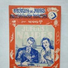 Libros de segunda mano: JUEGOS DE NAIPES POR WHO. BIBLIOTECA JUEGOS, PRESTIDIGITACION, ILUSIONISMO VOL. 9 ED SINTES TDK377. Lote 155288874