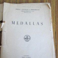Libros de segunda mano: MEDALLAS - CENTRO FILATÉLICO Y NUMISMÁTICO - ZARAGOZA 1957 - CON ILUSTRACIONES A BLANCO Y NEGRO . Lote 155691990