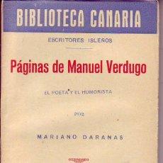 Libros de segunda mano: BIBLIOTECA CANARIA.PAGINAS DE MANUEL VERDUGO- TENERIFE. Lote 156452398