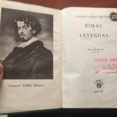Livres d'occasion: LIBRO CRISOL ADOLFO BECQUER RIMAS Y LEYENDAS. Lote 158219213