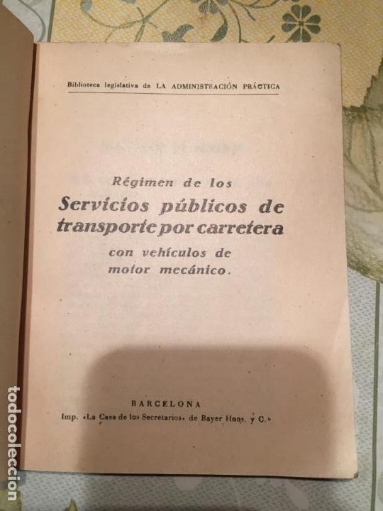Libros de segunda mano: Antiguo libro Régimen de los servicios públicos de transporte por carretera con vehículos de motor - Foto 2 - 158479578