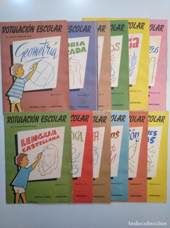 Libros de segunda mano: ROTULACION ESCOLAR. ANTONIO CARBONELL SOLER. LOTE COLECCION DE 12 ESTUCHES CON LAMINAS. TDKR44 - Foto 14 - 158676210
