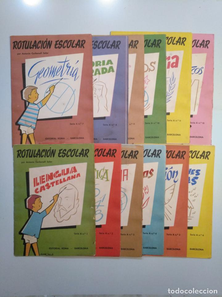 Libros de segunda mano: ROTULACION ESCOLAR. ANTONIO CARBONELL SOLER. LOTE COLECCION DE 12 ESTUCHES CON LAMINAS. TDKR44 - Foto 15 - 158676210