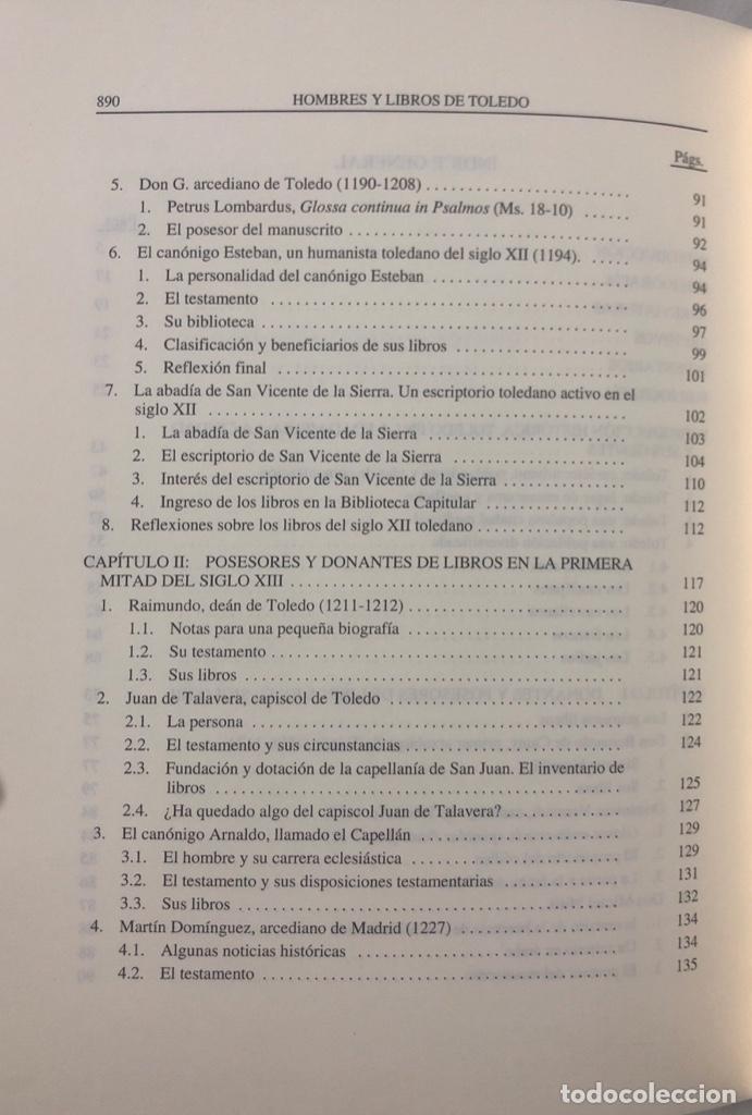 Libros de segunda mano: HOMBRES Y LIBROS DE TOLEDO 1086-1300. RAMON GONZALEZ RUIZ. FUNDACION RAMON ARECES.MADRID 1997. - Foto 7 - 158678842