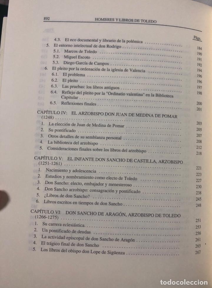 Libros de segunda mano: HOMBRES Y LIBROS DE TOLEDO 1086-1300. RAMON GONZALEZ RUIZ. FUNDACION RAMON ARECES.MADRID 1997. - Foto 9 - 158678842