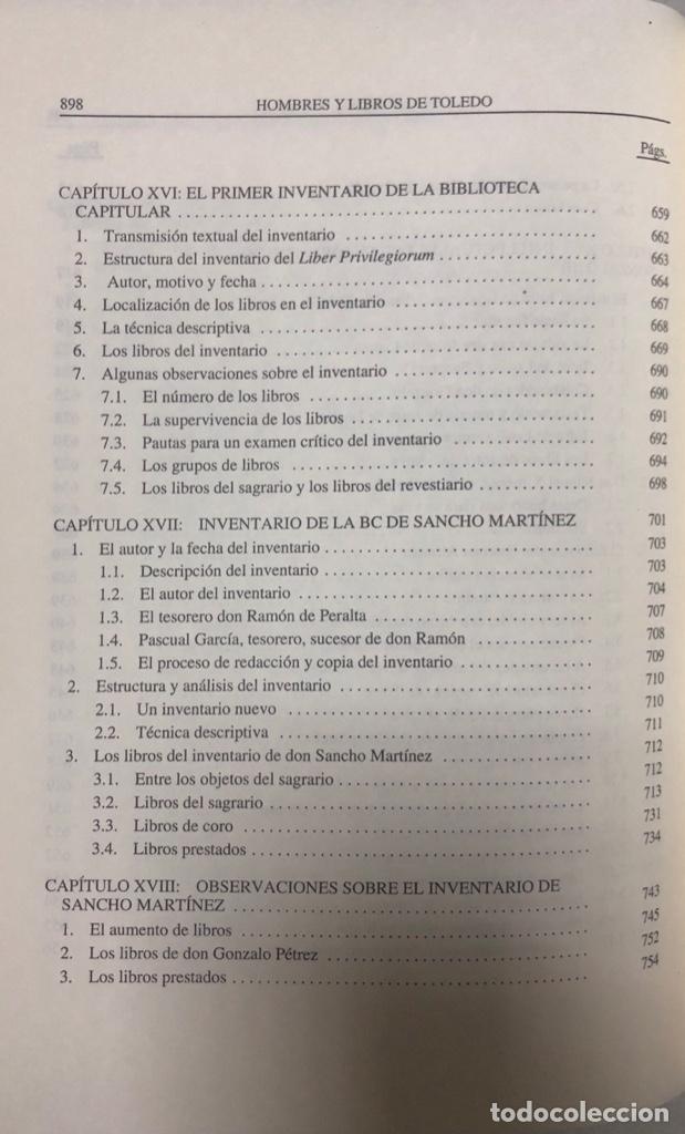 Libros de segunda mano: HOMBRES Y LIBROS DE TOLEDO 1086-1300. RAMON GONZALEZ RUIZ. FUNDACION RAMON ARECES.MADRID 1997. - Foto 14 - 158678842