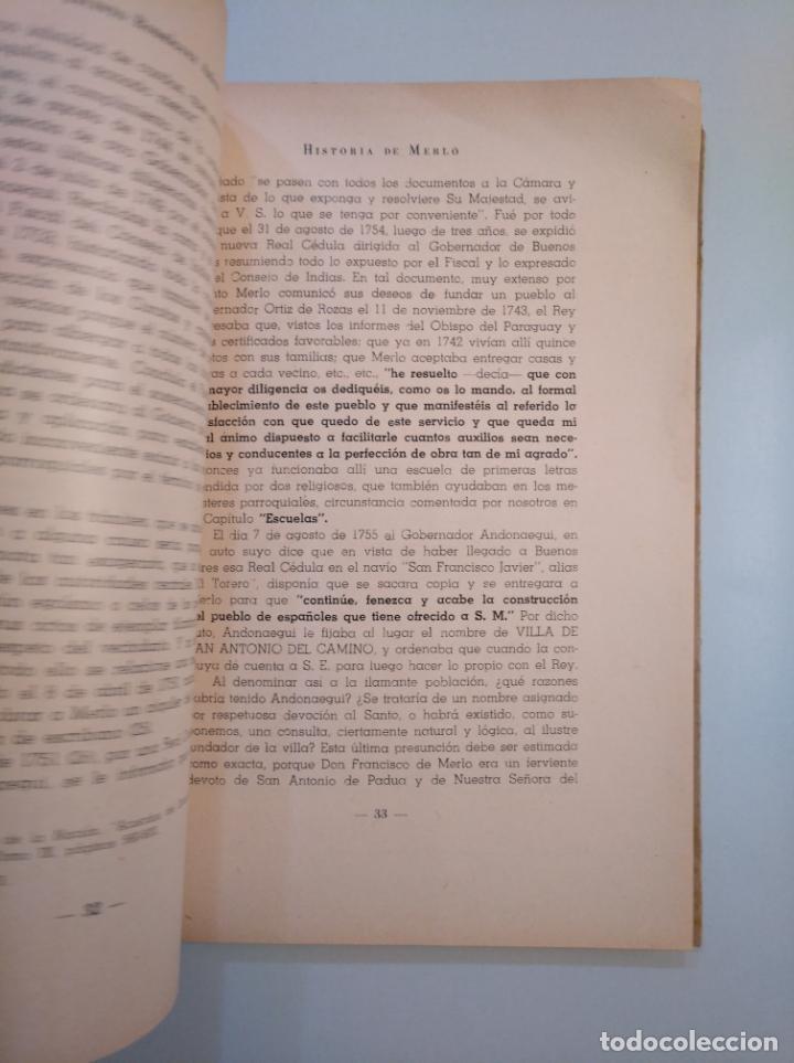 Libros de segunda mano: Historia de Merlo. Jacinto Rodriguez Arauz. TDK380 - Foto 2 - 158730802