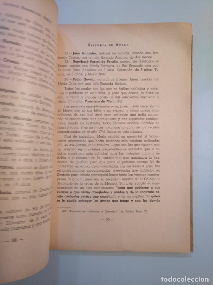 Libros de segunda mano: Historia de Merlo. Jacinto Rodriguez Arauz. TDK380 - Foto 3 - 158730802