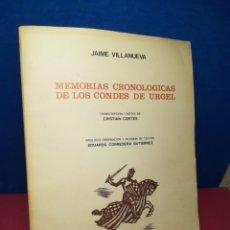Libros de segunda mano: MEMORIAS CRONOLÓGICAS DE LOS CONDES DE URGEL - JAIME VILLANUEVA - BALAGUER, 1976. Lote 158812929
