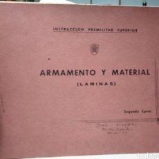 Libros de segunda mano: INSTRUCCION PREMILITAR SUPERIOR. ARMAMENTO Y MATERIAL. LAMINAS. 2 CURSO.. Lote 159035153
