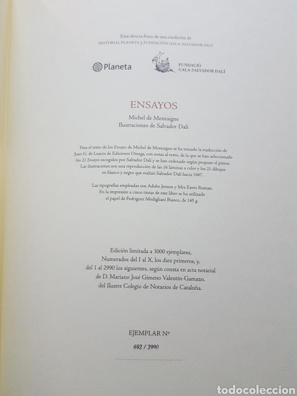 Libros de segunda mano: LOS ENSAYOS DE MONTAIGNE ILUSTRACIONES DE SALVADOR DALI. Edición única, limitada y numerada. 2005. - Foto 4 - 159250322