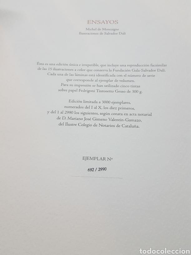 Libros de segunda mano: LOS ENSAYOS DE MONTAIGNE ILUSTRACIONES DE SALVADOR DALI. Edición única, limitada y numerada. 2005. - Foto 14 - 159250322