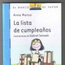 Libros de segunda mano: LA LISTA DE CUMPLEAÑOS DE ANNA MANSO MUNNÉ - EL BARCO DE VAPOR AZUL TAPA BLANDA NUEVO. Lote 160594098