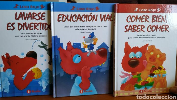 TRES LIBROS INFANTILES COLECCIÓN LOBO ROJO - EDUCACIÓN VIAL, LAVARSE ES DIVERTIDO Y COMER BIEN (Libros de Segunda Mano - Literatura Infantil y Juvenil - Otros)