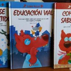 Libros de segunda mano: TRES LIBROS INFANTILES COLECCIÓN LOBO ROJO - EDUCACIÓN VIAL, LAVARSE ES DIVERTIDO Y COMER BIEN. Lote 162459148