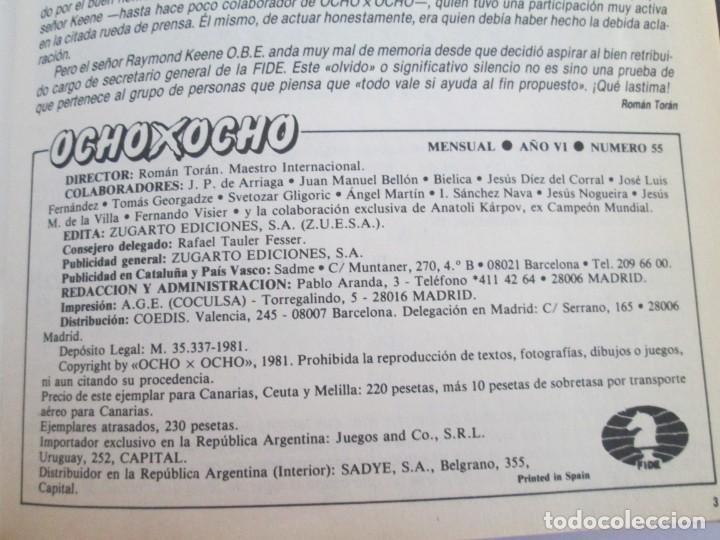 Libros de segunda mano: OCHO X OCHO. REVISTA PRACTICA DE AJEDREZ. OCTUBRE 1986 Nº 55 A SEPTIEMBRE 1989 Nº 90. - Foto 9 - 162946038
