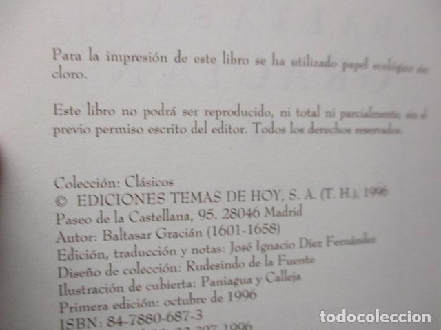 Libros de segunda mano: EL HOMBRE EN SU PERFECCIÓN / BALTASAR GRACIAN / SABER PARA VIVIR / ED. TEMAS DE HOY 1996 - Foto 8 - 163415342