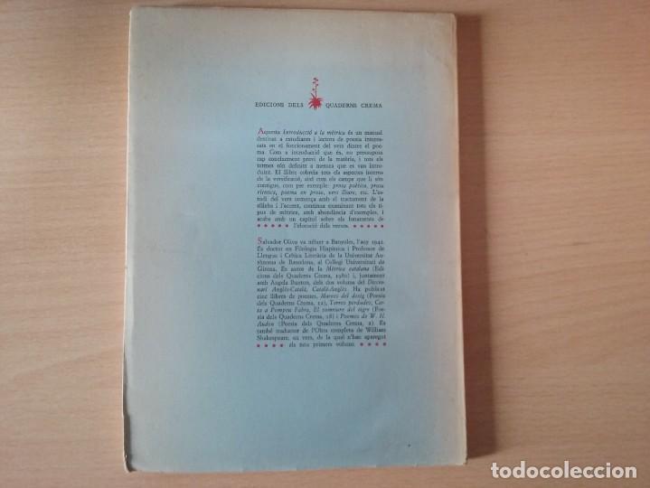 Libros de segunda mano: INTRODUCCIÓ A LA MÈTRICA (1986) - SALVADOR OLIVA - Foto 8 - 163467162