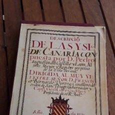 Libros de segunda mano: DESCRIPCIÓN DE LAS ISLAS CANARIAS, DE PEDRO AGUSTÍN DEL CASTILLO Y LEON. FACSÍMIL, ESTUCHE. Lote 182104948
