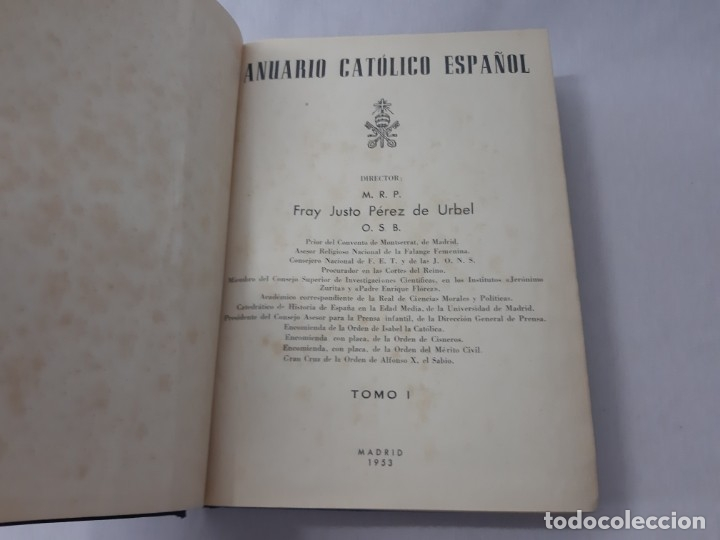 Libros de segunda mano: Anuario católico español por Justo Pérez de Urbel (?) - Pérez de Urbel, Justo - Foto 4 - 166299861