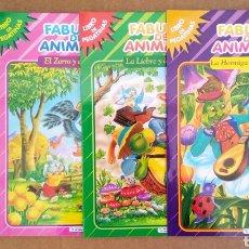 Libros de segunda mano: LOTE FÁBULAS DE ANIMALES/LIBRO DE PEGATINAS (SALDAÑA). COLECCIÓN PEGA TUS FÁBULAS (CARLOS BUSQUETS). Lote 166616364
