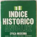 Libros de segunda mano: ÍNDICE HISTÓRICO ANDALUZ. ÉPOCA MODERNA. MARÍA DEL CARMEN MARTÍNEZ HERNÁNDEZ. CÓRDOBA. 1981. Lote 167137264