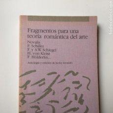Libros de segunda mano: PENSAMIENTO ARTE . FRAGMENTOS PARA UNA TEORÍA ROMÁNTICA DEL ARTE .NOVALIS .SCHILLER . HOLDERLIN. Lote 167936596