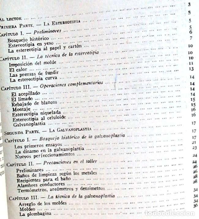 Libros de segunda mano: ESTEREOTIPIA - GALVANOPLASTIA / GRABADOS EN RELIEVE - JUAN OLLER 1943 - VER INDICE - Foto 3 - 168033224