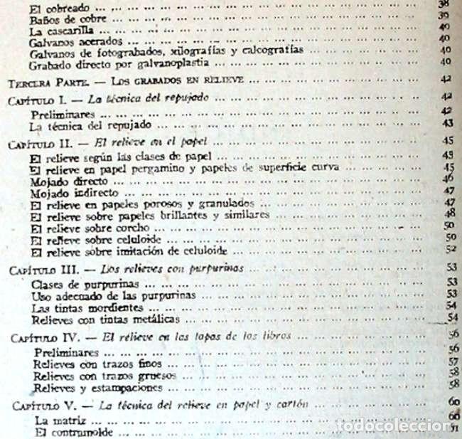 Libros de segunda mano: ESTEREOTIPIA - GALVANOPLASTIA / GRABADOS EN RELIEVE - JUAN OLLER 1943 - VER INDICE - Foto 4 - 168033224