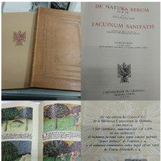 Libros de segunda mano: ANTIGUO CODICE DE NATURA RERUM POR TOMAS CANTIMPRE Y TACUINUM SANITATIS UNIVERSIDAD GRANADA FACSIMIL. Lote 168098816
