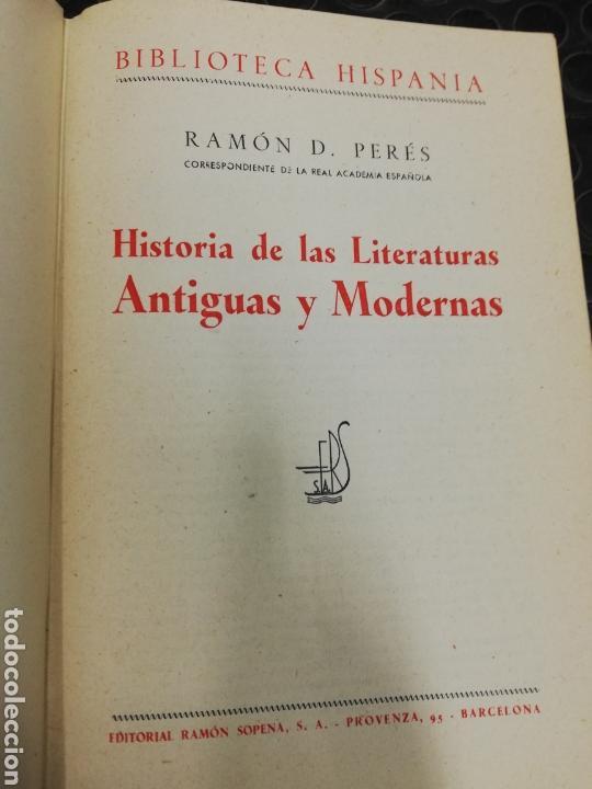 Libros de segunda mano: Historia de las literaturas antiguas y modernas. Ed. Ramón Sopena, año 1.949.I tomo. - Foto 4 - 168371162