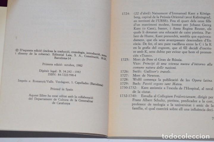 Libros de segunda mano: LIBRO PROLEGÒMENS IMMANUEL KANT EDITORIAL LAIA 1982 TEXTOS FILOSÒFICS DEPARTAMENT CULTURA CATALUNYA - Foto 3 - 168546808