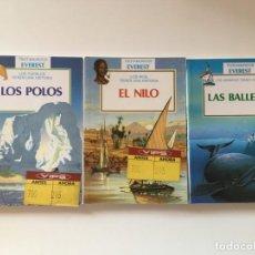 Libros de segunda mano: LOTE 3 LIBROS TROTAMUNDOS EVEREST - POLOS NILO BALLENAS. Lote 168611016