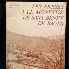 Libros de segunda mano: LES PRESES I EL MONESTIR DE SANT BENET DE BAGES, TOMO I - AÑO 1984, 24X16CMS, 365PAGS, . Lote 168741744