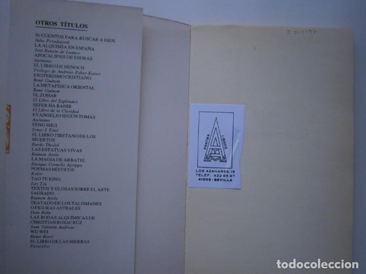 Libros de segunda mano: EL LIBRO DE LAS FIGURAS JEROGLIFICAS NICOLAS FLAMEL OBELISCO 1996 - Foto 8 - 169015996
