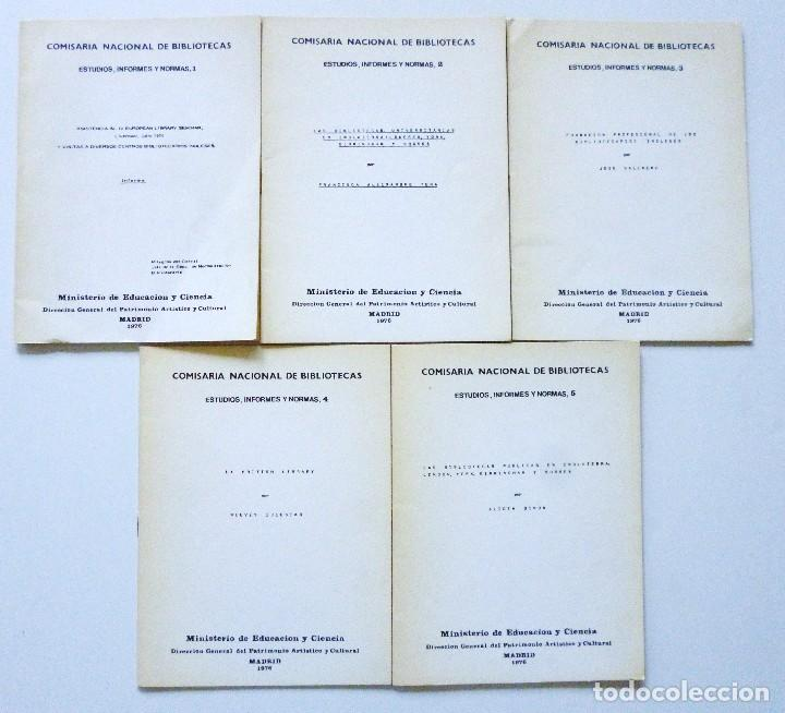 COMISARIA NACIONAL DE BIBLIOTECAS 1976 ESTUDIOS INFORMES Y NORMAS 1, 2, 3, 4, 5, 6, 7, 9 Y 19 (Libros de Segunda Mano - Ciencias, Manuales y Oficios - Otros)