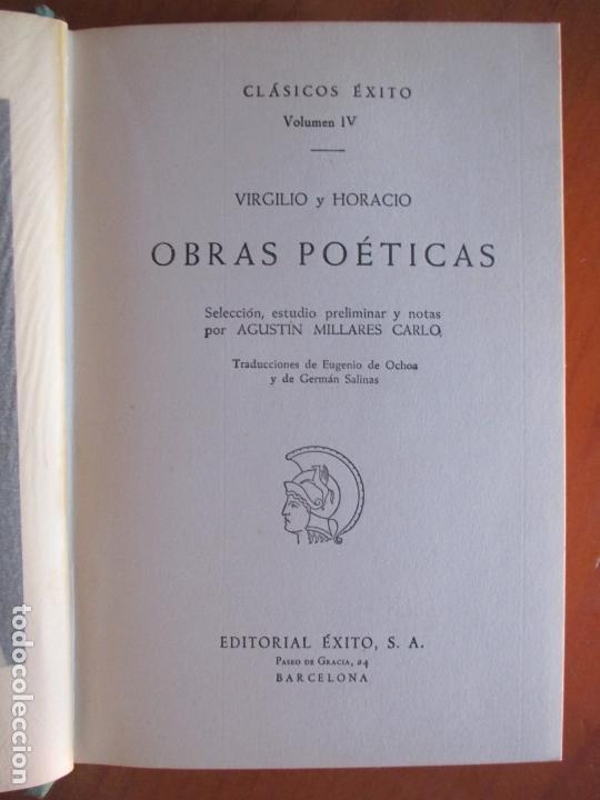 Libros de segunda mano: CLÁSICOS ÉXITOS. VIRGILIO HORACIO. OBRAS POÉTICAS. Nº 4. 1962 - Foto 2 - 169087752