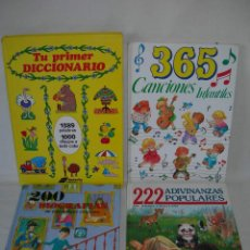 Libros de segunda mano: LOTE DE 4 LIBROS INFANTILES - 200 BIOGRAFÍAS, 222 ADIVINANZAS, TU PRIMER DICCIONARIO Y 365 CANCIONES. Lote 169394448
