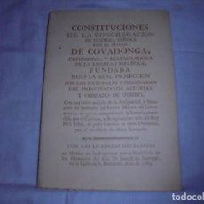 Libros de segunda mano: CONSTITUCIONES DE LA CONGREGACION DE NUESTRA SEÑORA CON EL TITULO DE COVADONGA.FACSIMILAR. Lote 169460884