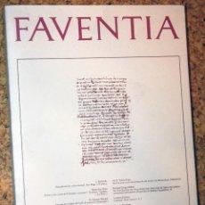 Libros de segunda mano: FAVENTIA 11/2 1989 DEPARTAMENT DE CLÀSSIQUES. FACULTAT DE LLETRES. CATALOGACIÓ EN PUBLICACIÓ UAB . Lote 169619328