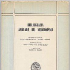 Libros de segunda mano: ZULETA, EMILIA DE (ED.). BIBLIOGRAFÍA ANOTADA DEL MODERNISMO. 1970.. Lote 170014248