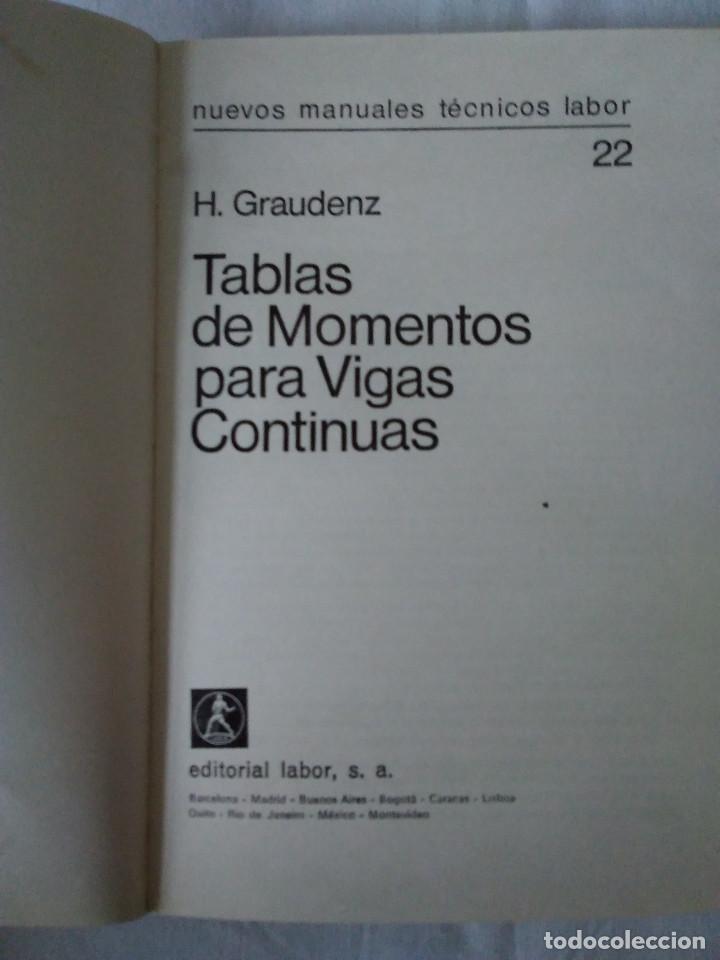 Libros de segunda mano: 107-TABLAS DE MOMENTOS PARA VIGAS CONTINUAS, H. Graudenz, 1973 - Foto 2 - 170983763