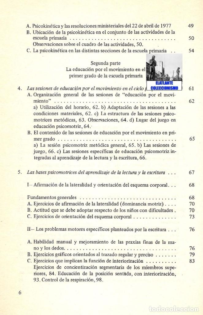 Libros de segunda mano: LA EDUCACIÓN PSICOMOTRIZ EN LA ESCUELA PRIMARIA - JEAN LE BOULCH PAIDÓS PSICOMOTRICIDAD - EXCELENTE - Foto 8 - 171113417
